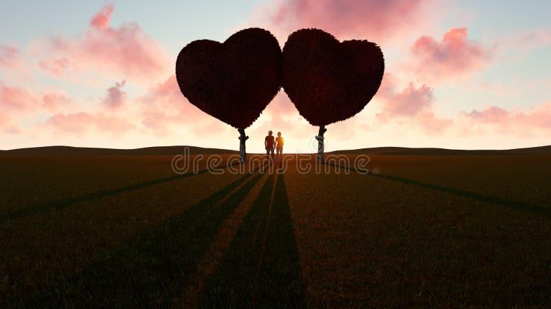 浪漫年轻夫妇在心形的树下 库存例证