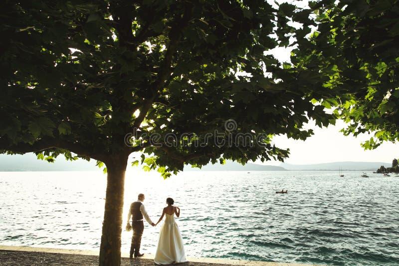 浪漫新婚佳偶夫妇新娘和新郎在日落在se附近靠岸 库存图片
