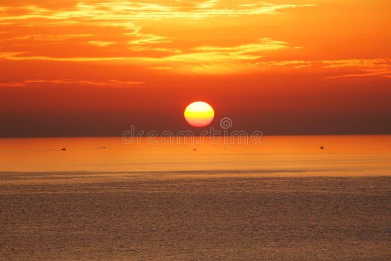 浪漫日落的海洋 免版税图库摄影
