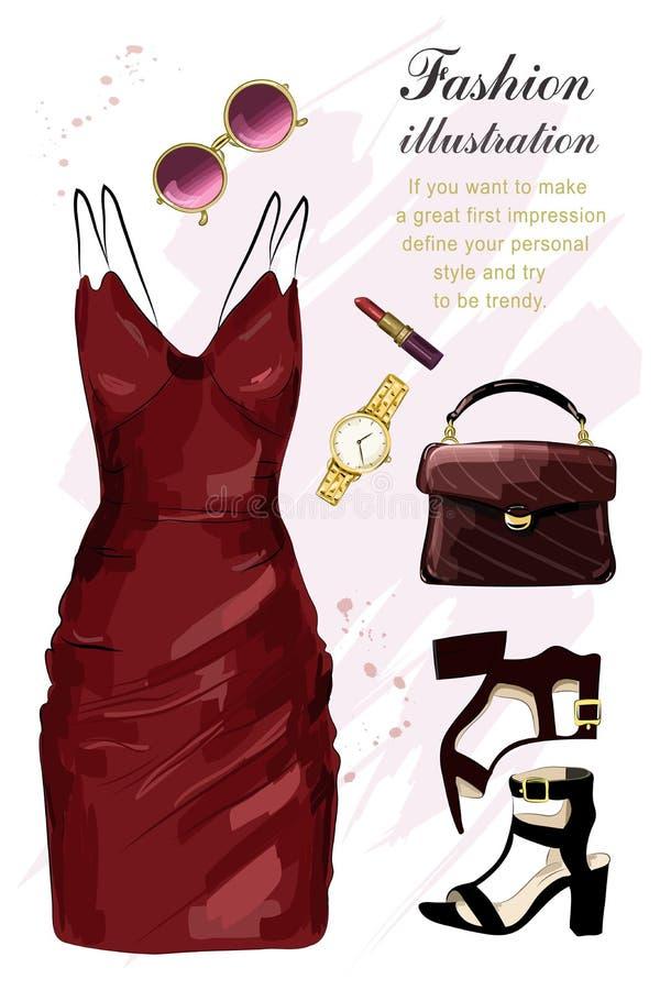 浪漫晚上衣物集合 时尚衣裳设置了与礼服,鞋子,手袋,唇膏,太阳镜,手表 草图 库存例证