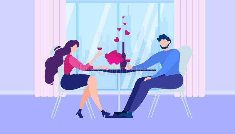 浪漫晚餐在家动画片人妇女厨房 向量例证