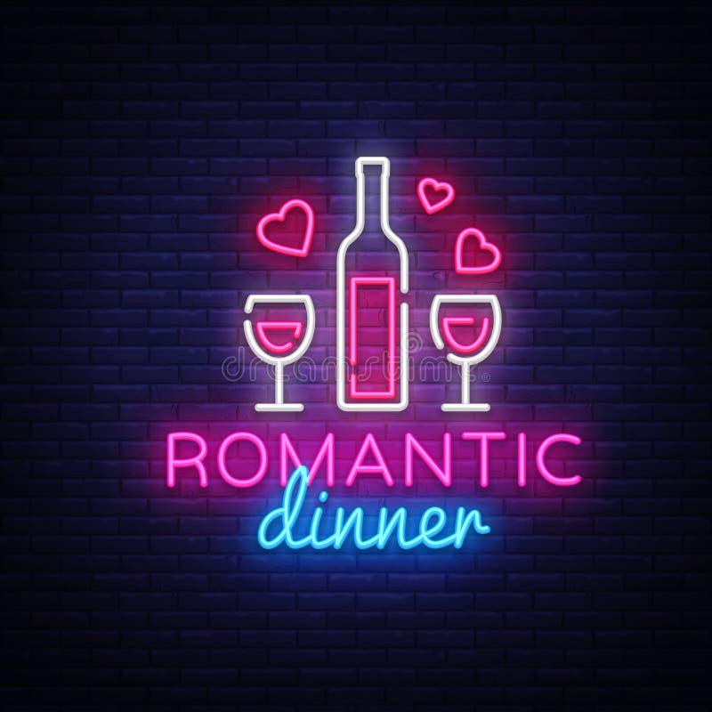 浪漫晚餐霓虹商标传染媒介 酒霓虹灯广告,设计模板,现代趋向设计,夜霓虹牌,夜 皇族释放例证
