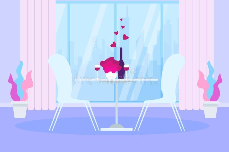 浪漫晚餐餐馆佐餐葡萄酒玻璃瓶 向量例证