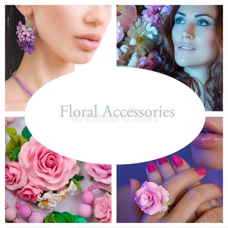 浪漫样式拼贴画:时尚被射击一名花卉妇女Accessori 库存图片