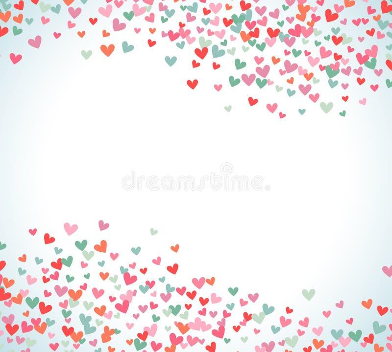 浪漫桃红色和蓝色心脏背景 也corel凹道例证向量 皇族释放例证