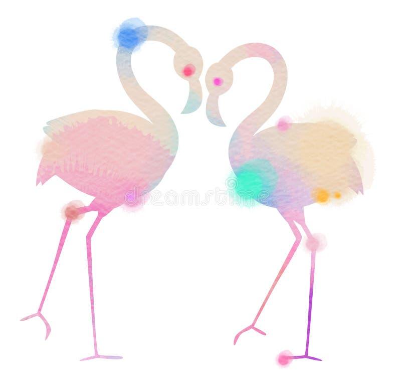 浪漫桃红色火鸟鸟剪影水彩加入头 向量例证