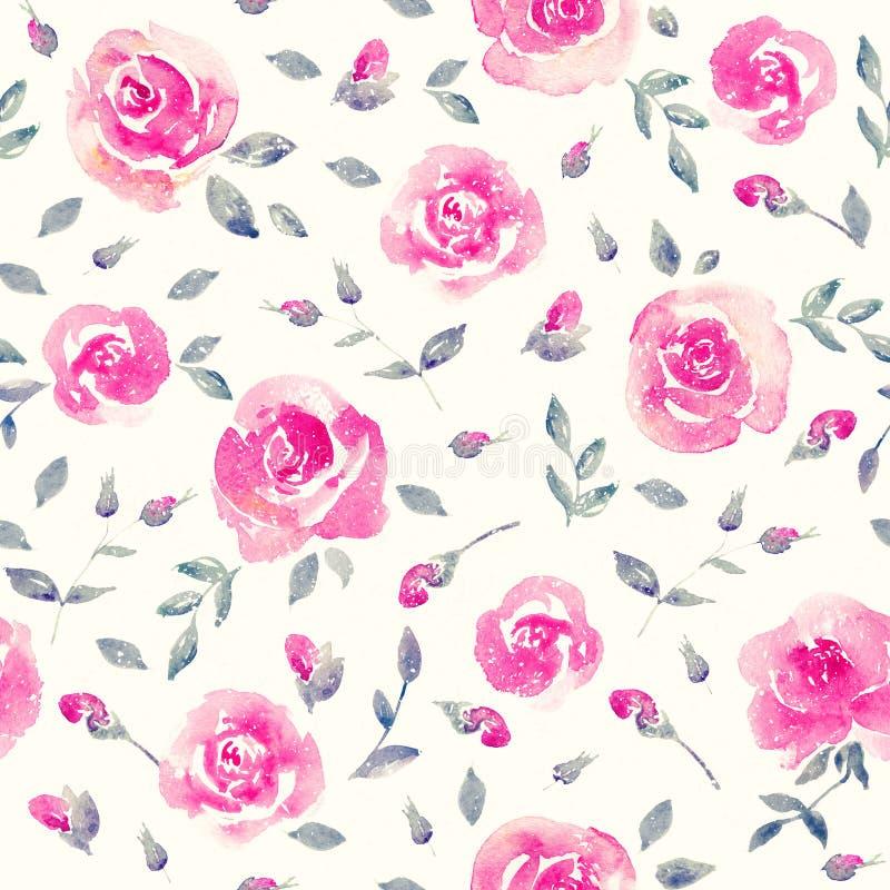 浪漫桃红色玫瑰-花卉无缝的样式 库存例证
