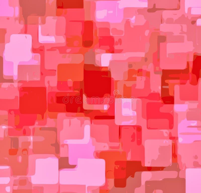 浪漫桃红色绘画正方形样式摘要 库存例证
