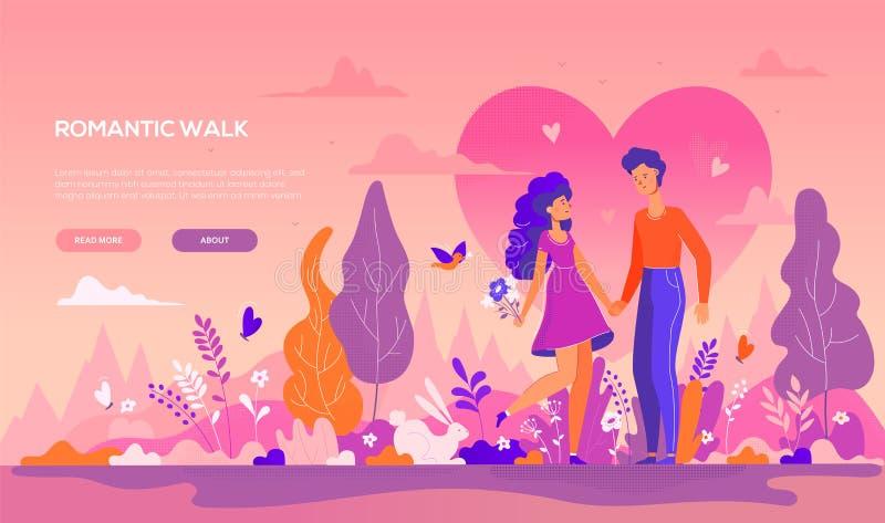 浪漫步行-现代平的设计样式横幅 库存例证