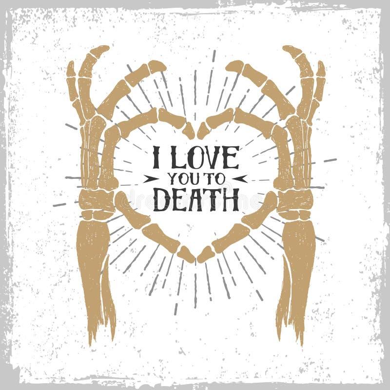 浪漫海报用形成心脏的最基本的手 向量例证