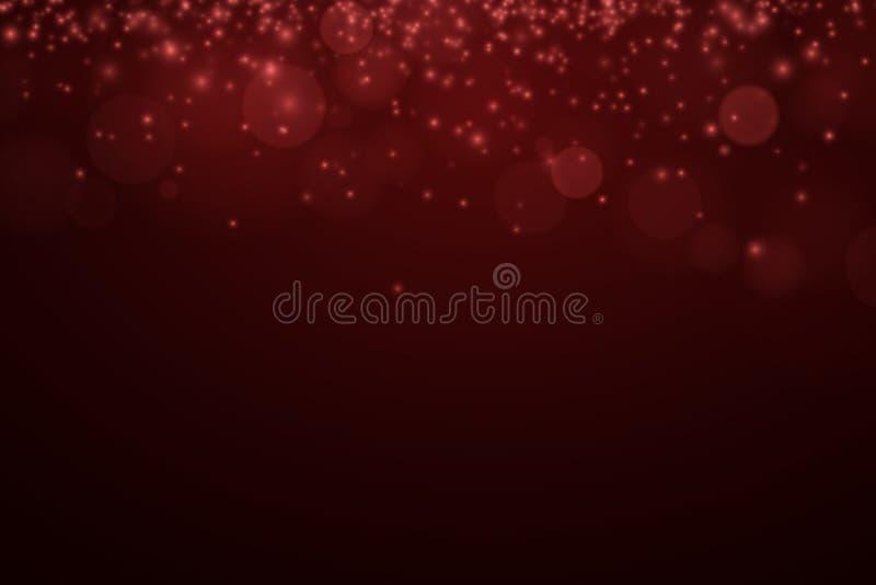 浪漫深红背景 红色亮光 强光bokeh 发光的微粒 庆祝的背景 抽象背景光 向量 向量例证