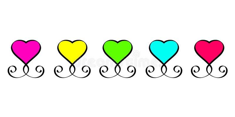 浪漫爱心脏红色青绿的黄色桃红色标志葡萄酒书法集合书法设计心脏平的元素的情人节 库存例证