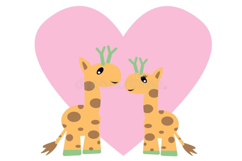 浪漫爱长颈鹿,情人节14 皇族释放例证