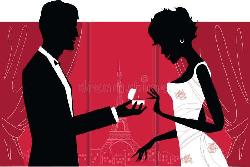 浪漫的夫妇 库存例证