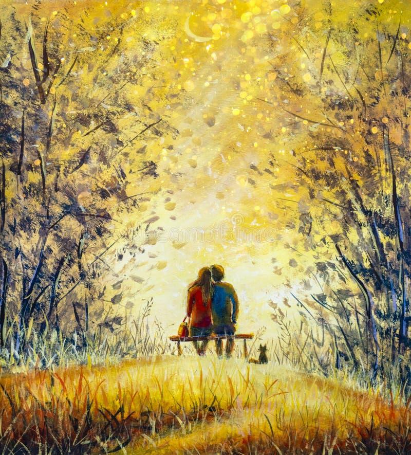 浪漫的风景-一对爱人的情侣和猫-年轻男人和美丽的女孩坐在长椅上,欣赏着美丽的景色 库存例证