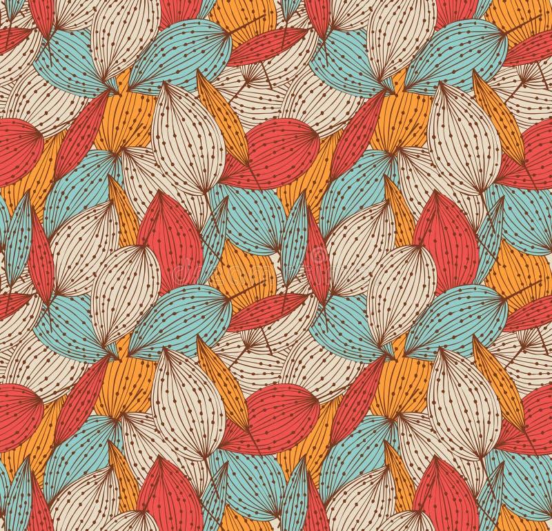浪漫秋天花卉无缝的样式 与叶子的美好的不尽的线性背景 葡萄酒离开纹理 皇族释放例证