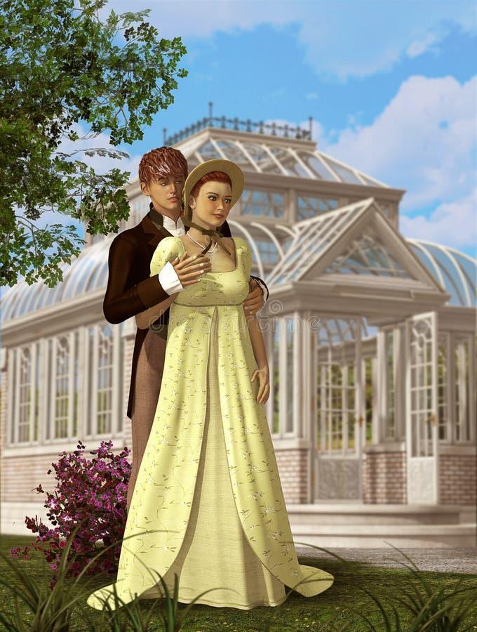 浪漫维多利亚女王时代的夫妇在爱会议在公园 皇族释放例证