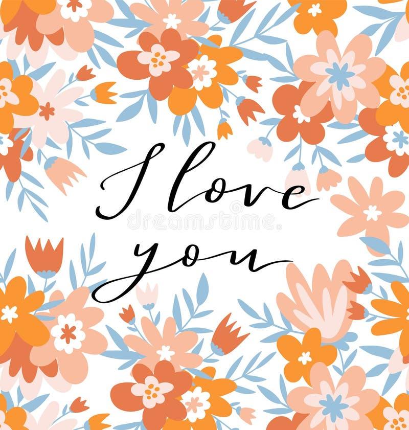 浪漫花卉框架和字法- `我爱你` 逗人喜爱的婚礼邀请模板设计 也corel凹道例证向量 向量例证