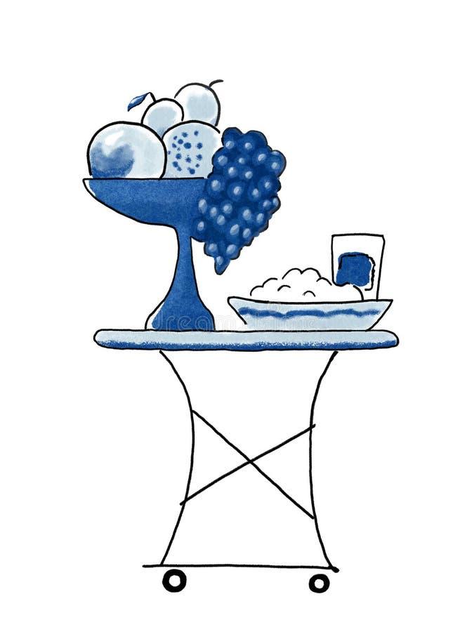 浪漫茶台车、鲜美果子、食物和饮料在盘子 水彩手工制造工作的绘画例证 健康食品,旅馆 向量例证