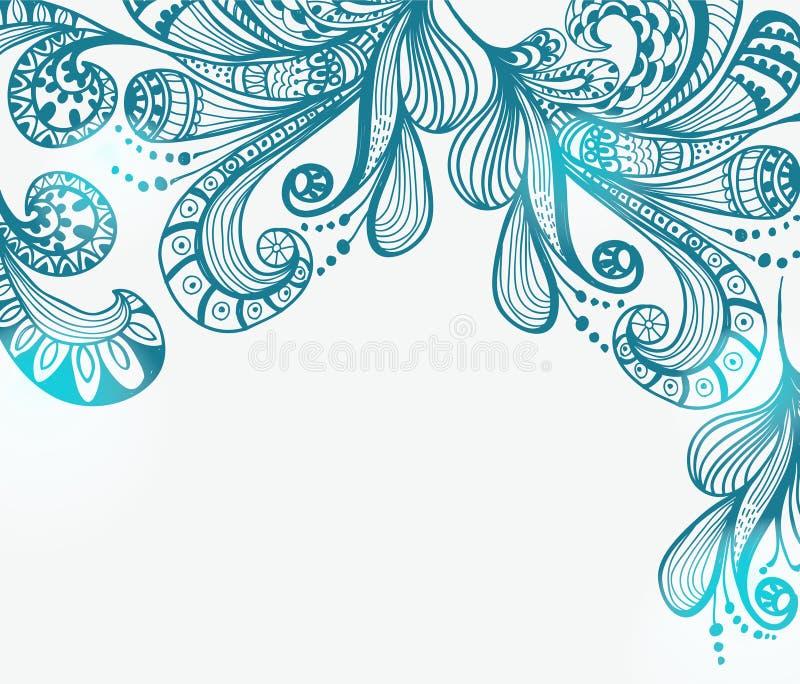 浪漫蓝色花卉背景 库存例证