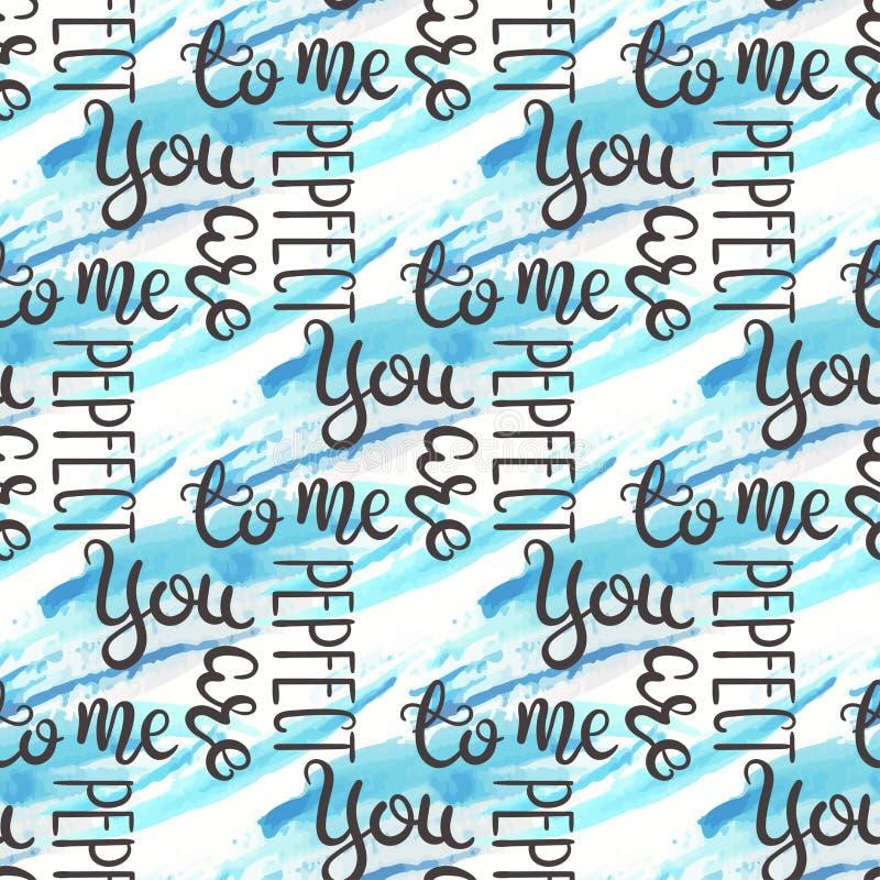 浪漫行情无缝的样式 爱文本为情人节 贺卡设计 水彩背景 库存例证