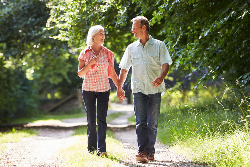 浪漫走沿乡下道路的中世纪夫妇 库存照片