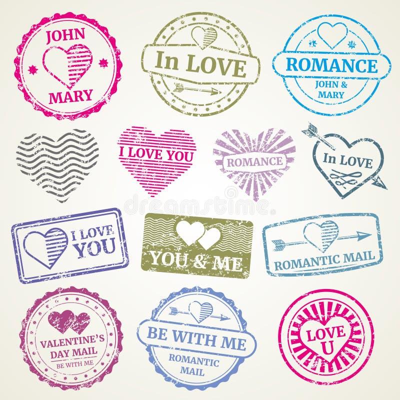 浪漫邮票传染媒介为婚姻和情人节明信片设置了 向量例证