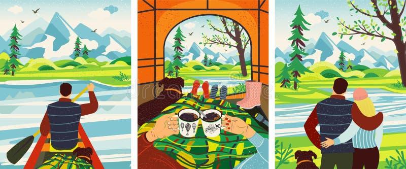 浪漫野营 男人和妇女在帐篷,饮用的热的咖啡得到变冷,看在山的看法 向量例证