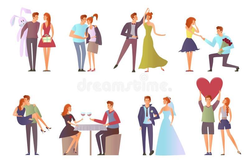 浪漫集合为华伦泰` s天 在爱的夫妇在日期 步行、舞蹈、浪漫晚餐、提议手和心脏 向量 皇族释放例证