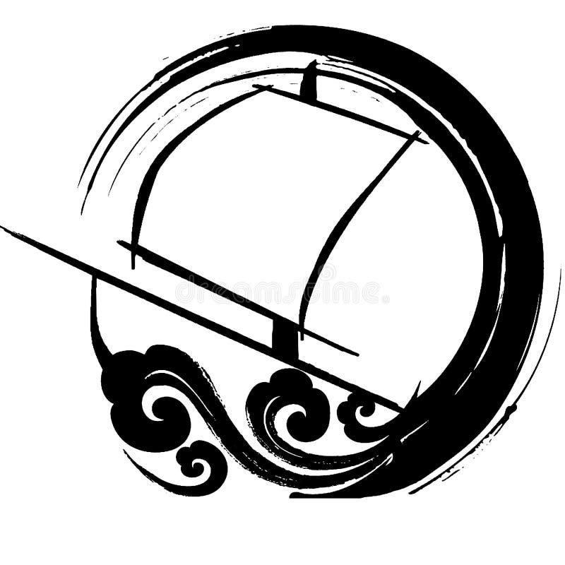 浪潮起伏的风船海运 皇族释放例证