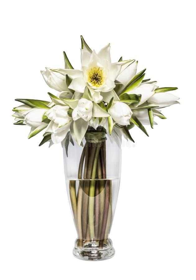 浪端的白色泡沫百合花束在一个玻璃花瓶的在白色背景 免版税库存照片