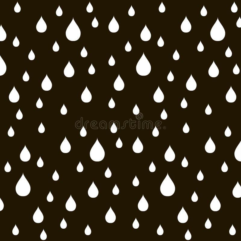 浪端的白色泡沫的样式在黑色,传染媒介下降 库存例证