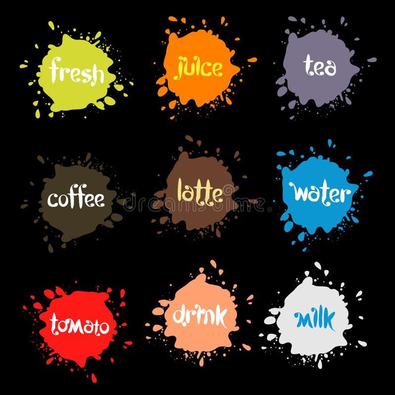 浪花弄脏,五颜六色的被设置的图片污点异常的现代商标 库存例证