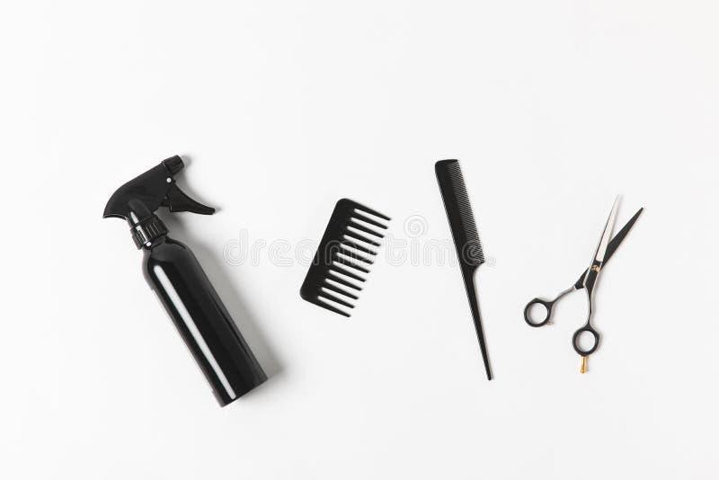 浪花瓶、梳子和剪刀顶视图, 库存照片