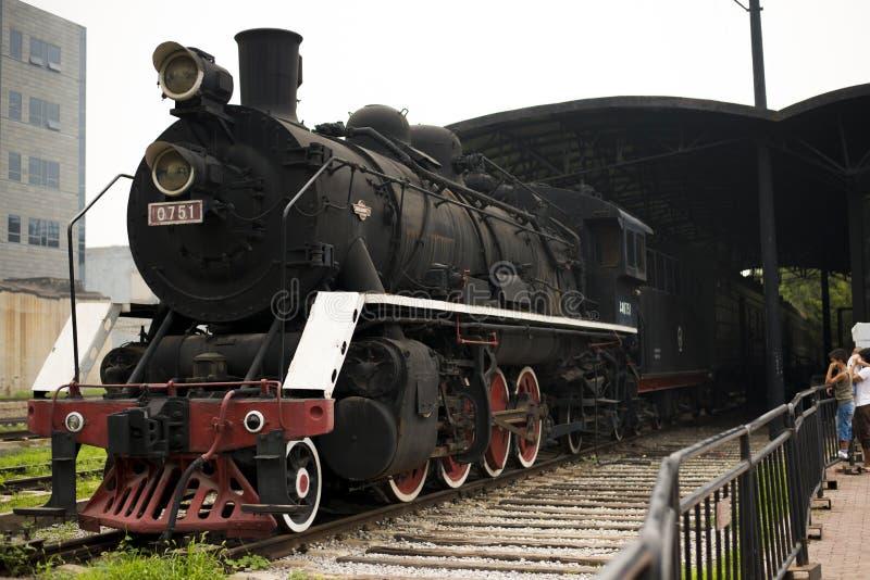 浪费火车在北京798艺术区域 免版税图库摄影
