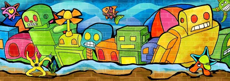 浮出水面从防波堤五颜六色的油漆 向量例证