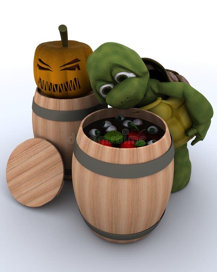 浮动为在桶的苹果的草龟 向量例证