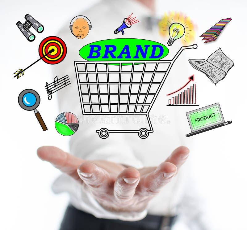 浮动在手上的品牌概念 免版税库存图片