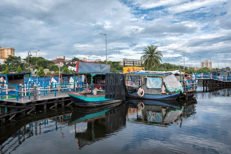 浮动市场在加尔各答第一在孟加拉开放了这1月 实际上这是印度的是的第一市场 库存图片