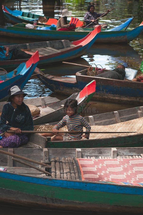 浮动市场在暹粒,柬埔寨 免版税库存照片