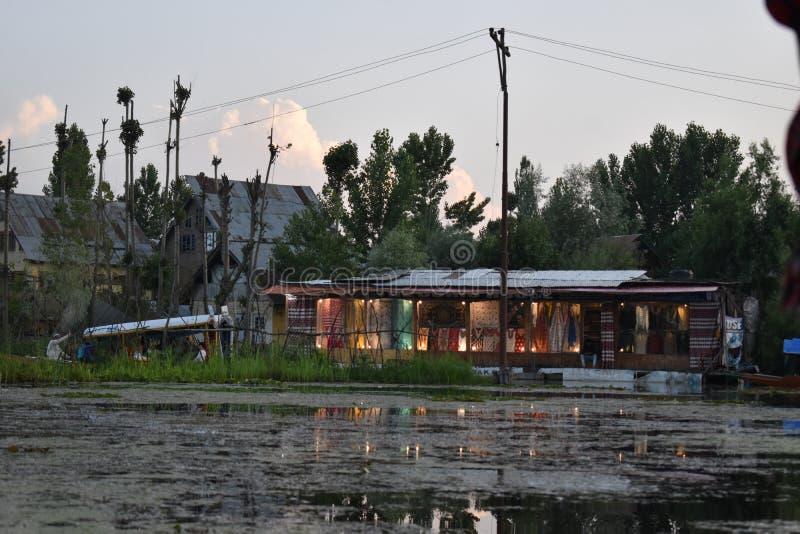 浮动市场美丽的景色在Dal湖,斯利那加,查谟-克什米尔邦,印度 免版税库存照片
