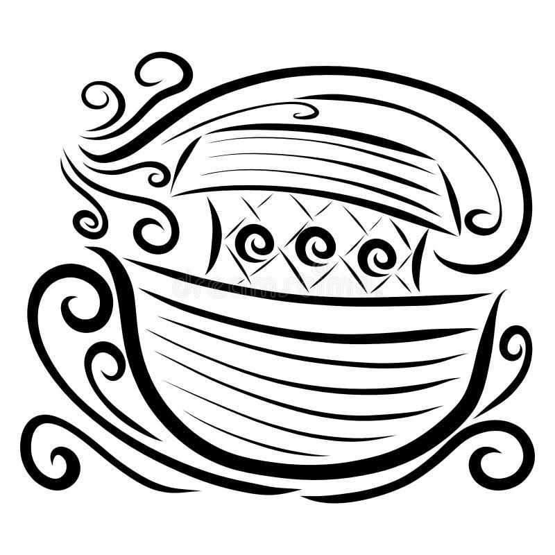 浮动平底船、波浪和强风,黑样式 库存例证