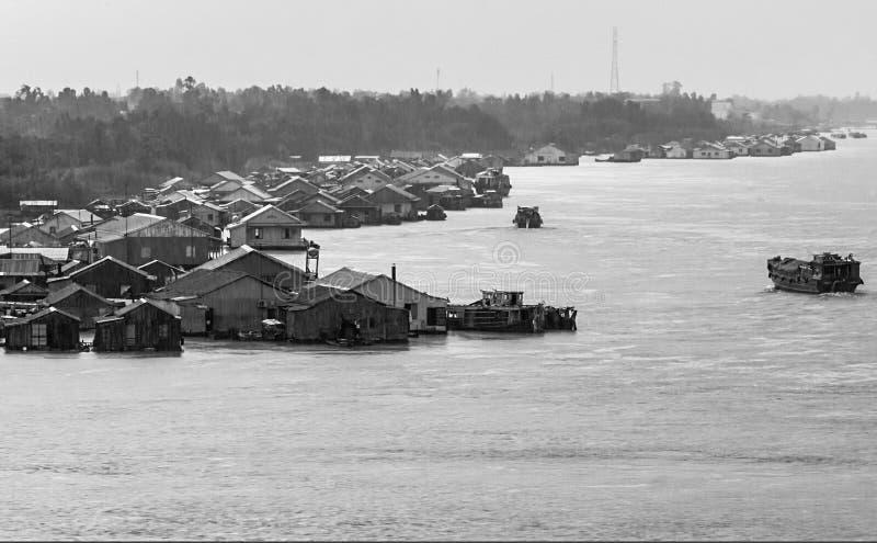 浮动房子和渔场 库存照片