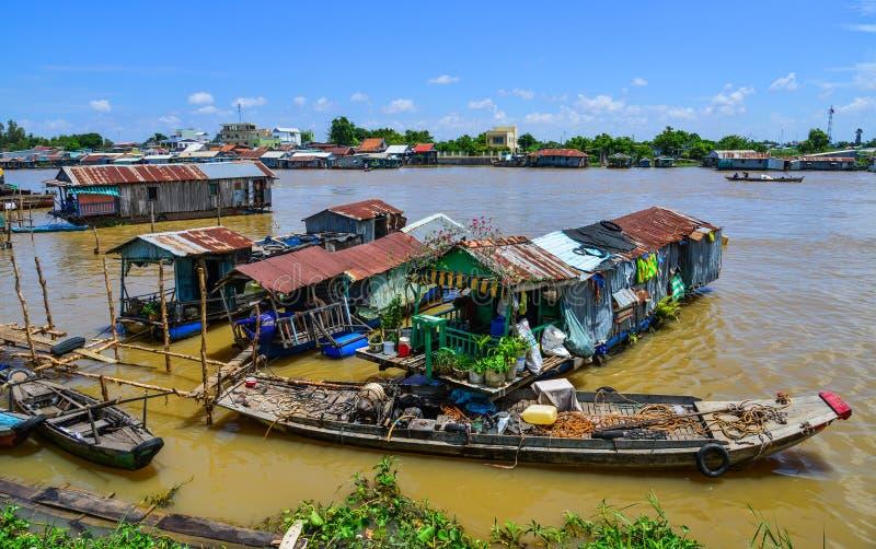 浮动房子在Chau Doc,越南 免版税图库摄影