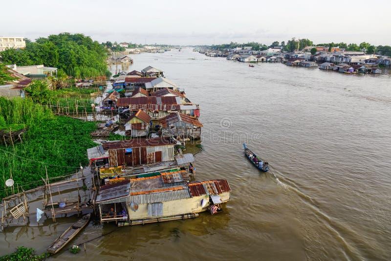浮动房子在Chau Doc,越南 免版税库存图片