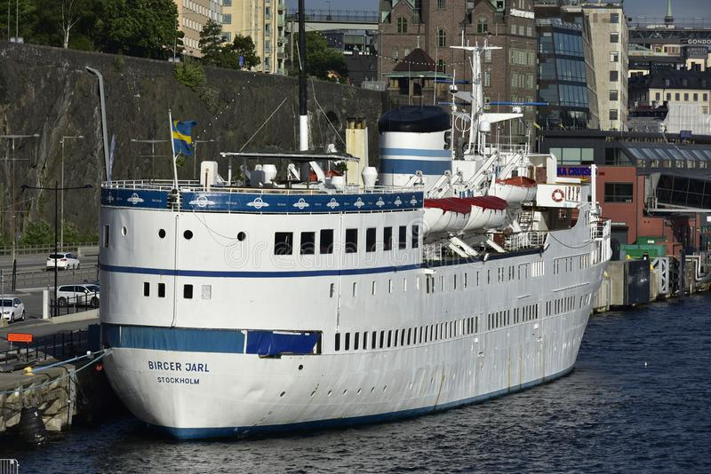 浮动旅馆Bircer Jarl,斯德哥尔摩,瑞典 免版税图库摄影