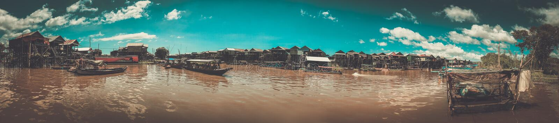 浮动村庄磅士卑Phluk,暹粒,柬埔寨 库存图片