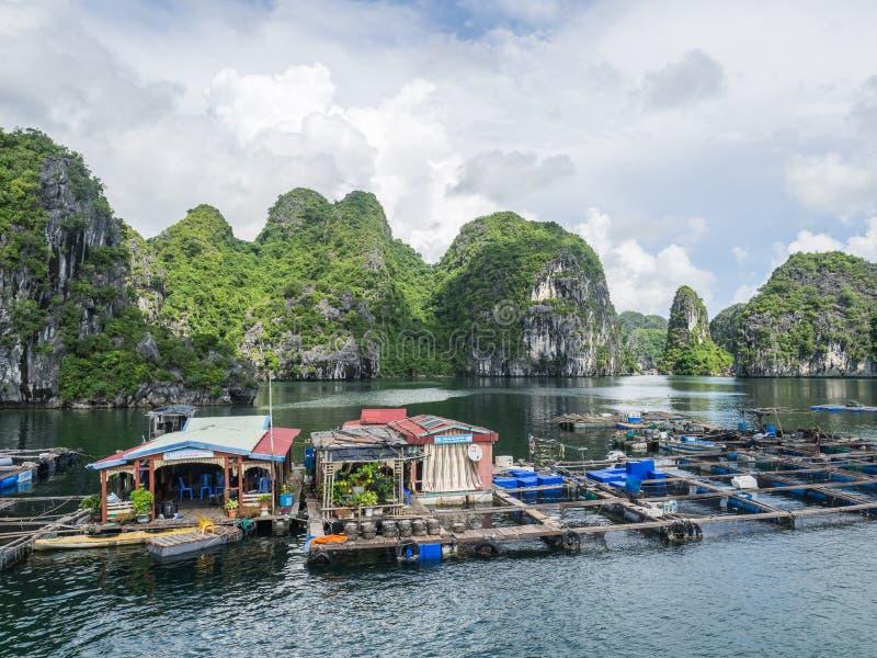 浮动渔村halong海湾 图库摄影