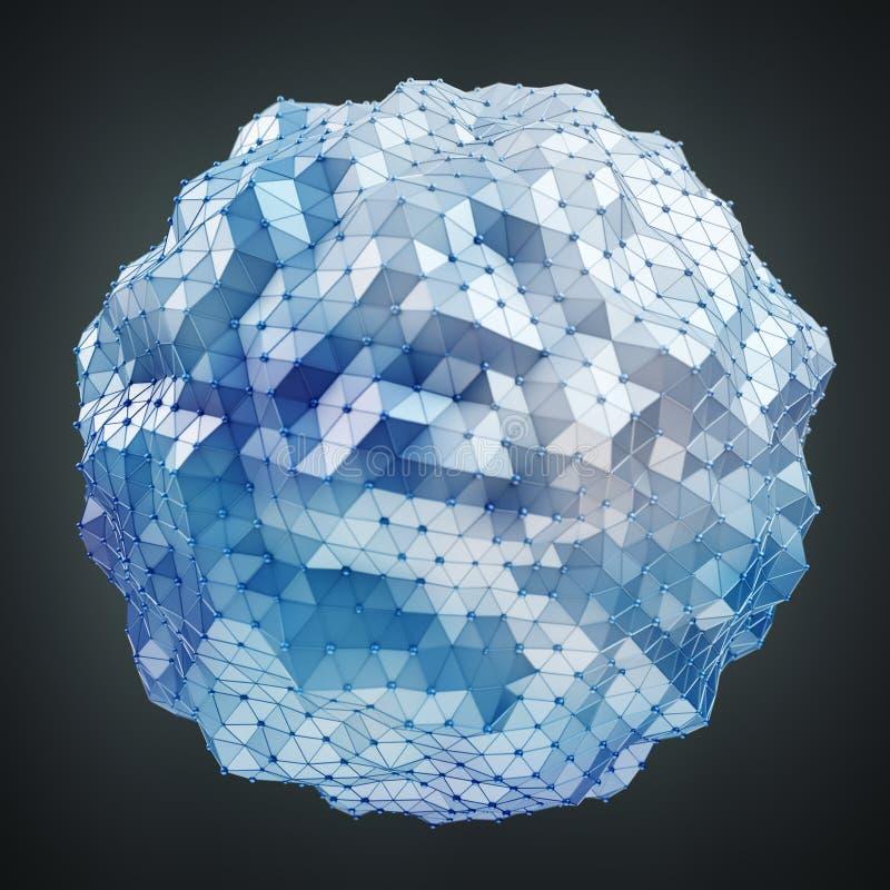 浮动白色和蓝色发光的球形网络3D翻译 皇族释放例证