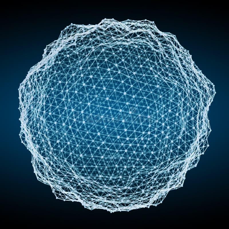 浮动白色和蓝色发光的球形网络3D翻译 库存例证